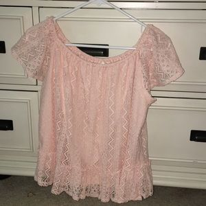 Pink Lacey Off the Shoulder Top